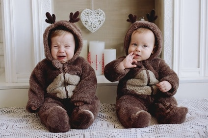 twins wearing cute costumes