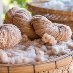 Handmade yarn from the cotton flower