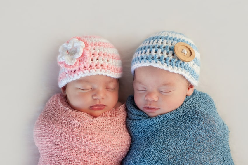 newborn twins in photo