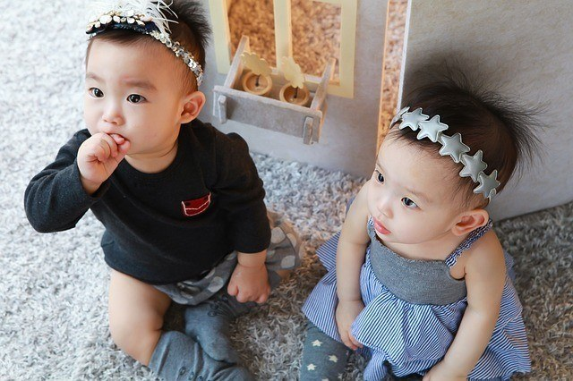 Boy and girl twin